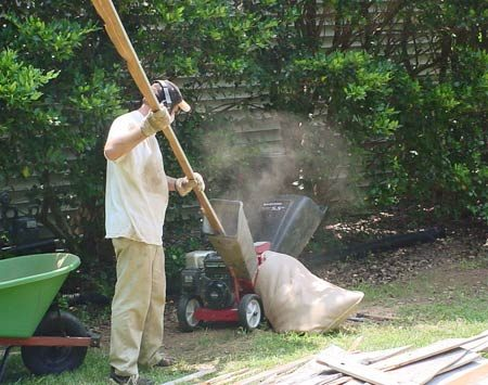 <b>How to get rid of old wood</b></br> <p>Here's an ingenious idea from  Field Editor Tom Berg.   After making sure the nails  were removed, he ran 2,200   sq. ft. of siding through a  wood chipper to make a   mountain of great-smelling  cedar mulch for his gardens.   He saved a ton in trash  container fees and had   loads of free mulch to boot.  You could do the same with   pine or any other soft wood,  but the mulch will decompose quicker than cedar.</p>