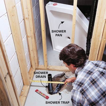 <b>Photo 8: Position the shower drain</b></br> Set the shower pan in place and measure from the walls to determine the exact location of the drain. Assemble the drain and trap without glue. Then set the pan in place again to check your work before you finally glue up the fittings.