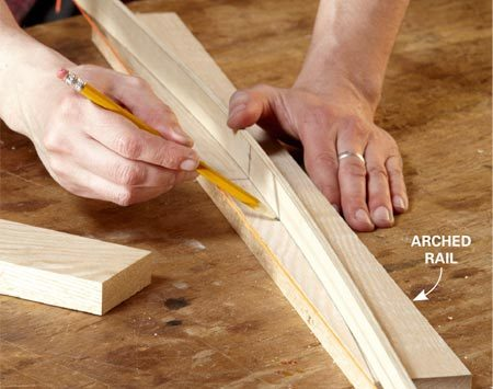 "<b>Photo 5: Mark the arches</b></br> <p>Make an ""arch bow""—simply a 3/16-in.-thick strip   of wood with slots cut into   both ends. Hook a knotted   string in one slot, tighten   the string to bend the bow   and  tie off the other end. </p>"