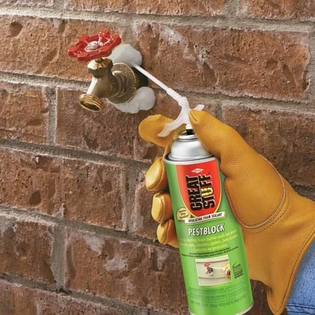 <b>Bad taste repels pests</b><br/><p>Great Stuff expanding foam  seals   small holes and cracks. The  newest   product&mdash;<a href='http://www.amazon.com/gp/product/B007TUF0FY/ref=as_li_qf_sp_asin_il_tl?ie=UTF8&tag=familhandy-20&linkCode=as2&camp=1789&creative=9325&creativeASIN=B007TUF0FY' rel='nofollow' target='_blank'>Great Stuff Pestblock</a>  (sold   at home centers)&mdash;contains a  bitter   ingredient (but not a  pesticide) that   discourages insect pests and  rodents   from gnawing on the insulating  foam   to  gain entry to your home. </p>