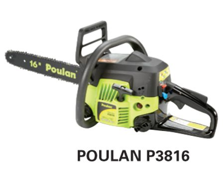 <b>Poulan P3816</b></br> <p>Engine size: 38 cc<br />   Bar length: 16 in.<br /> Price: about $139 </p>