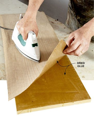 "<b>Anchoring veneer</b></br> A hot iron activates a thin coat of dried wood glue to ""clamp"" the veneer."