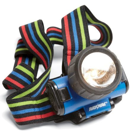 <b>Camping headlamp</b><br/>Carry your flashlight on your head so you don't have to fumble around in the dark.