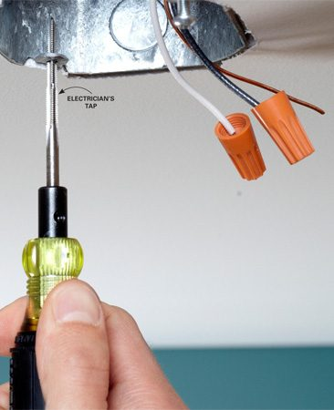 <b>Tapping a stripped hole</b></br> An electrician's tap cuts new threads so you don't have to replace the box. You'll need a bigger screw.