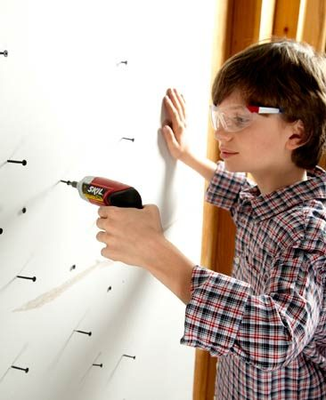 <b>Driving screws</b></br> Start some screws in a scrap of drywall and let the kids screw them in with a screwdriver or a kid-size cordless screwdriver. Drywall is a lot easier to screw into than wood.