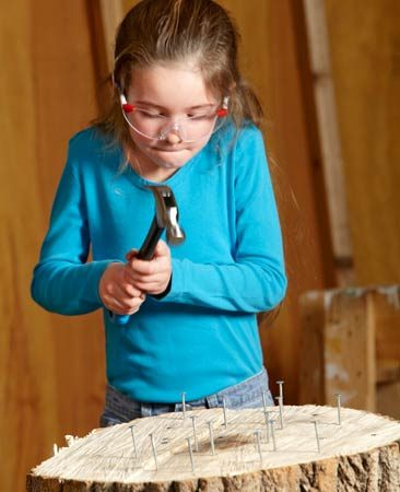 <b>Hammer practice</b></br> Start a bunch of roofing nails in a stump and let your young DIYers go to town. The kids will keep hammering until every last nail is flush. With their big heads and short shanks (the roofing nails, not the kids), they're easy to hit and hard to bend. And the end grain of a stump is easy to penetrate.