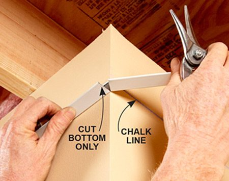 <b>Outside corner treatment</b></br> Cut one flange of the angle and bend it around outside corners.