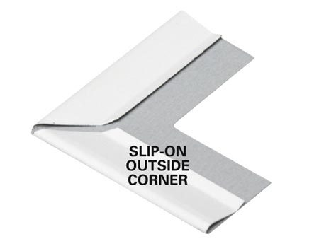 <b>Outside corner cover</b></br> Slip a special outside corner piece over the flange to hide the corner cut.