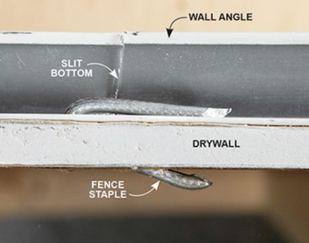 "<b>Fence staple ""clamp""</b></br> Drill the angle and slide in a fence staple to anchor the angle to the wall when there aren't any nearby studs."