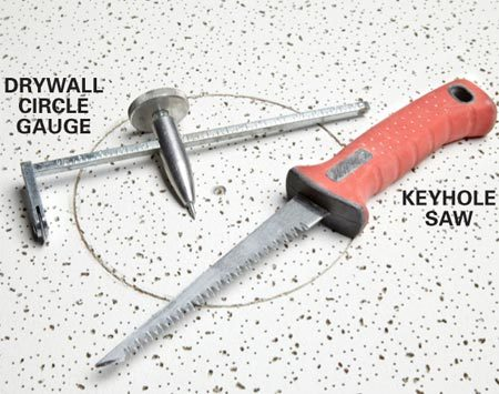 <b>Circle cutting hardware</b></br> Use a drywall circle gauge for accurate scribing and a saw for clean cuts.