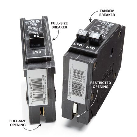 <b>Full size and tandem circuit breakers</b></br> Certain slots in electrical panels will accept tandem breakers, but not all slots.