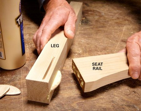 <b>Photo 6: Join the rails and legs with biscuits</b></br> <p>Put a biscuit in the slot and dry-fit the leg    and seat rail to make sure the rail is    oriented correctly. It should be centered on    the leg. Then spread glue in the slots and on    the biscuit and press the leg and the seat   rail together. </p>