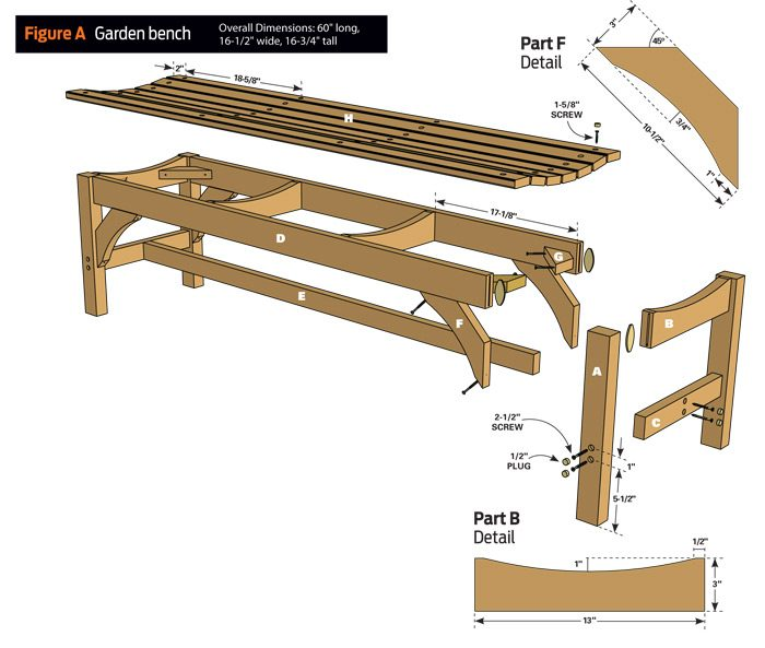 Garden bench technical drawing showing all parts