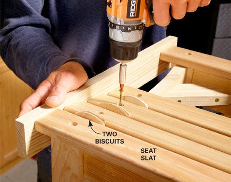 <b>Photo 10: Screw on the seat slats</b></br> <p>Start by attaching the two    outside slats. Then center the middle    slat and attach it with screws. Next,    position the remaining slats so there's    an even space (two biscuits wide)    between them. Use a board to align the    slat ends. </p>