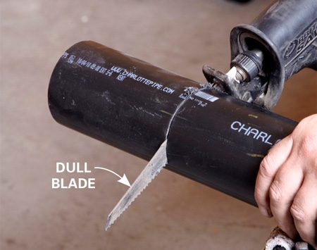 <b>Cutting ABS with a dull wood blade</b><br/>Dull wood blades cut ABS cleanly without chatter or melting the plastic.
