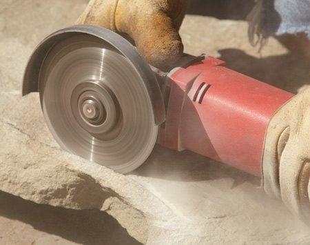 Photo A: Cutting a drip groove using a diamond blade