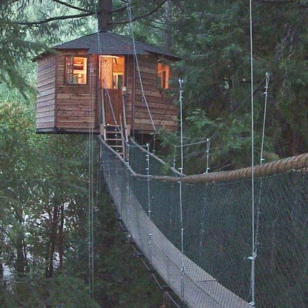 <b>Tree house and suspended walk</b><br/>This tree house has electricity and the access is a walkway hung on cables.<br/>Photo courtesy of Out'n'About