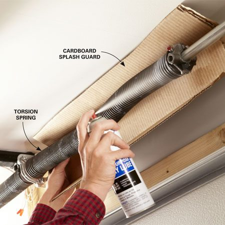 <b>Photo 5: Lube everything that moves</b></br> Spray the roller shafts and hinges first. Wipe off the drippy excess. Then slip a piece of cardboard behind the torsion springs and soak them, too.