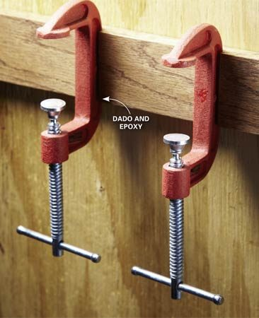 <b>C-clamp hooks</b></br> Glue the clamps into a groove cut in a cleat or mounting board. Use epoxy for a strong bond.