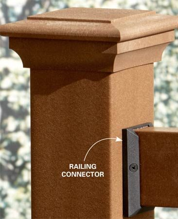 <b>Railing/post connector</b></br> Special connectors make difficult joints easier and stronger.