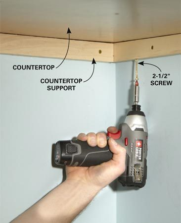 <b>Photo 2: Fasten the countertop</b></br> Screw through the countertop supports into the countertop. Lay something heavy on top, or ask a helper to press down while you drive the screws.