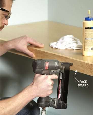 <b>Photo 3: Cap the front edge</b></br> Glue and nail a board to the front edge to cover the plywood and add strength. Wipe off glue squeeze-out with a damp rag.