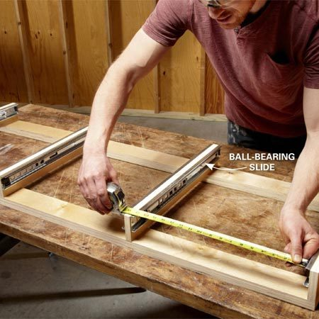 <b>Photo 8: Build the drawer frame and measure for drawers</b></br> Make sure your drawers fit perfectly by building the drawer frame first. Then measure between the slides and build your drawers to exactly this width.