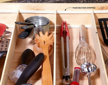 <b>Simple drawer dividers</b></br> Foam weather stripping and 1/4-in. plywood make simple adjustable drawer dividers.