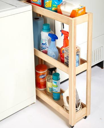 <b>Plywood laundry cart</b></br> Build a simple roll-out cart to fit almost any narrow space.
