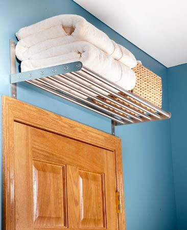 <b>High shelves</b></br> High shelves take advantage of unused space above doors and windows.