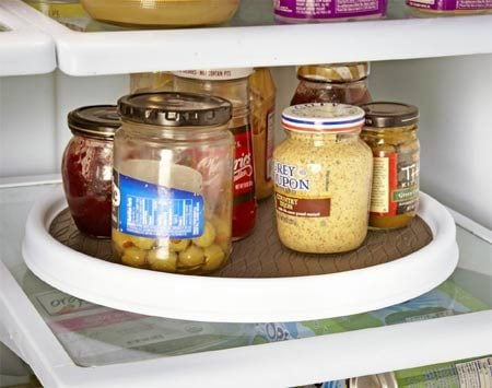 <b>Lazy Susan at work</b></br> A lazy Susan in your fridge keeps small items close at hand.