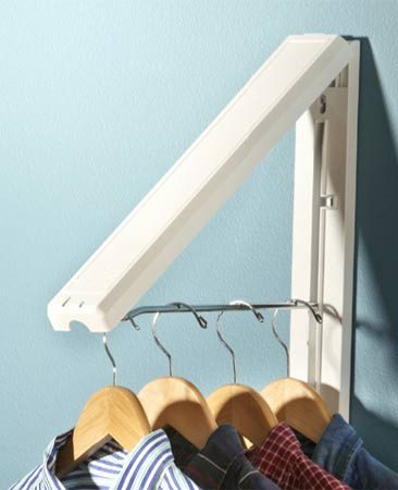 <b>Single folding hanger rod</b></br> This hanger folds against the wall when not in use.