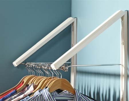 <b>Double folding hanger rod</b></br> This double, more spacious version also folds against the wall.