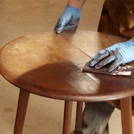 <b>Apply gel stain</b></br> Work the gel stain into the surface. Then wipe off the excess.