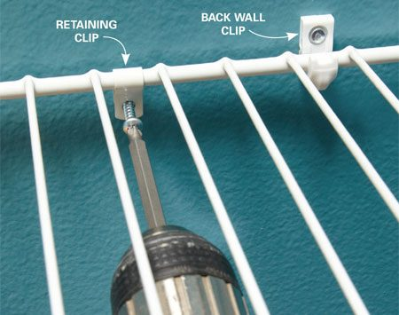 <b>Lock shelving in place</b></br> Back wall clips are designed to support the shelf, but if there are a bunch of clothes hanging on the front of the shelf with nothing on top to weigh them down, the back of the shelf can lift. To keep the shelf in place, Tim installs a retaining clip in a stud near the middle of the shelf. One clip toward the middle of an 8-ft. shelf is plenty.