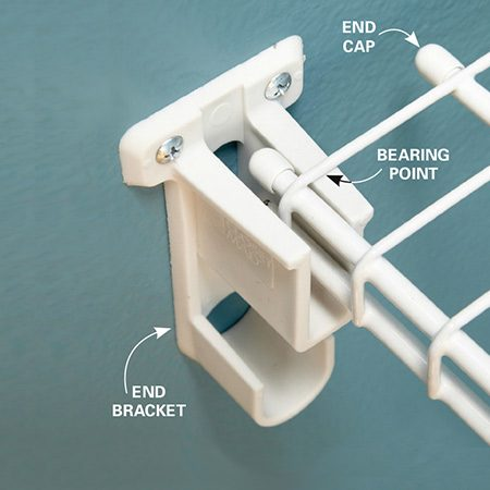 <b>Leave wiggle room</b></br> <p>When cutting the shelf,  measure wall to   wall, and subtract an inch.  This allows for   the thickness of the end  brackets plus a   little wiggle room. It's the  top, thinner wire   that actually supports the  shelf, and one   wire per end is enough.  Cutting exact   lengths will only earn you  wall scratches   and a  trip back to the cutting station. </p>