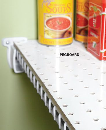 <b>Tip for pantry shelves</b></br> <p>When Tim installs wire  shelving in pantries,   he likes to cap the top of the  shelves with   white 1/4-in. pegboard. This  stops the skinnier   items from tipping over. He  uses white   zip ties to hold the pegboard  in place. A   4 x 8-ft. sheet costs less  than $20 at most   home centers, which makes it  an inexpensive   option. </p>