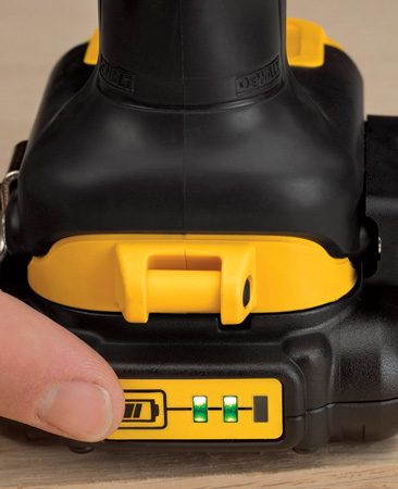 """<b>""""Fuel gauge"""" on battery charger</b></br> A quick push of a button lights up the """"fuel gauge"""" so you know at a glance how much charge remains in the battery."""