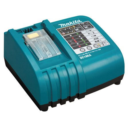 <b>Makita battery charger</b></br> The Makita DC18RA cools a hot battery before charging.