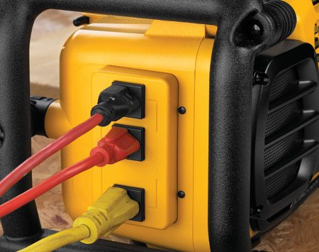 Three power outlets on DeWalt Worksite Charger/Radio