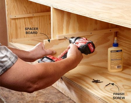 <b>Photo 3: Install the drawer guides</b></br> Install the bottom drawer guides first, and then cut a scrap of plywood to act as a spacer for the upper guides. Fasten the guides with glue and trim-head screws.