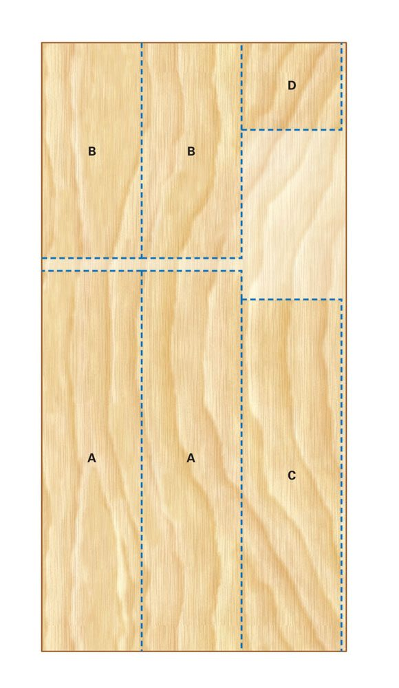 3/4-in. plywood cutting diagram for the<br/> garage workbench