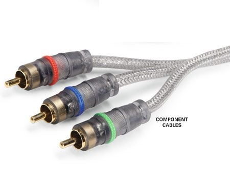 <b>Component cables</b></br> Component cables deliver better video than RCA cables, though not high definition.