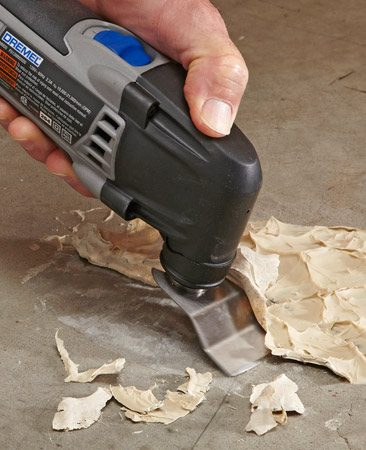 <b>Adhesive removal</b><br/>An oscillating tool can make short work of scraping up old hardened adhesive.