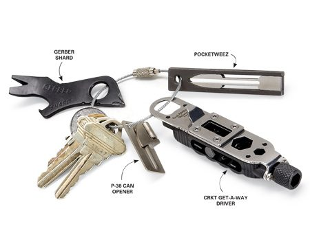 <b>Keychain pocket toolbox</b></br> This collection of lightweight pocket tools fit on a single key ring.