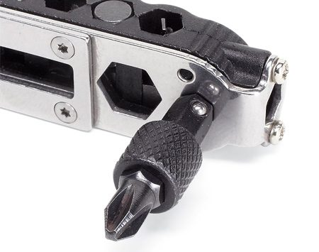 <b>Close-up of the Get-a-way driver</b></br> Screwdriver bit mounted in the right angle position.
