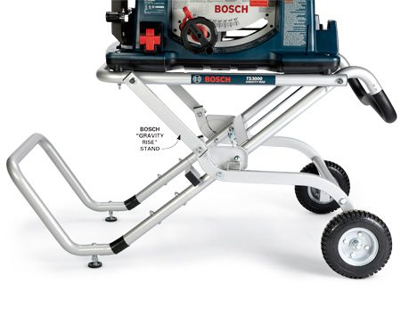 <b>Sturdy stands</b></br> The Bosch 4100-09 has an easy-to-set-up stand, is sturdy and has a handle and wheels for instant mobility.