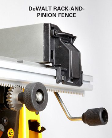 <b>Adjustable rip fence</b></br> The DeWalt rack-and-pinion fence adjustment system is easy to use and accurate.