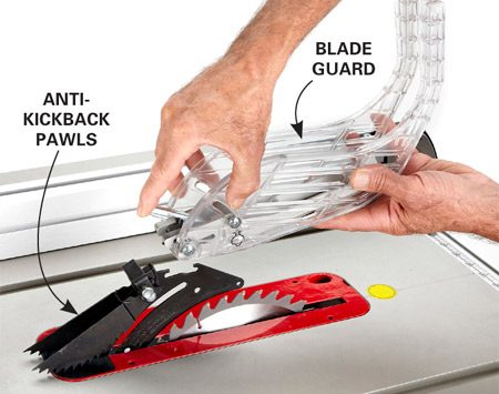 <b>Safety features</b></br> All saws have safety features that include a riving knife, anti-kickback pawls and a blade guard.
