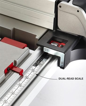 <b>Separate fence scale</b></br> On this Bosch saw you read the fence to blade measurement on a scale separate from the fence.